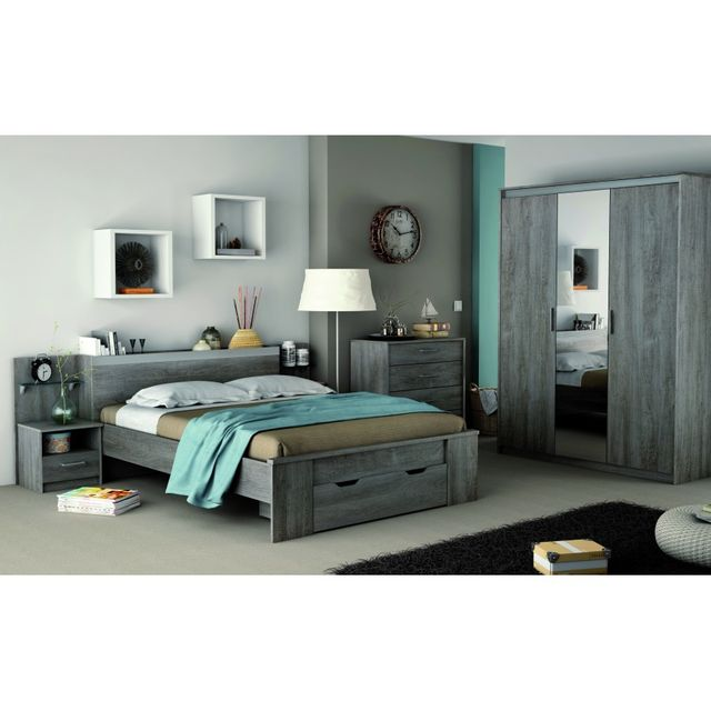 Rocambolesk Chambre Diva Lit 140x190 + 1 chevets + armoire 3 portes + miroir