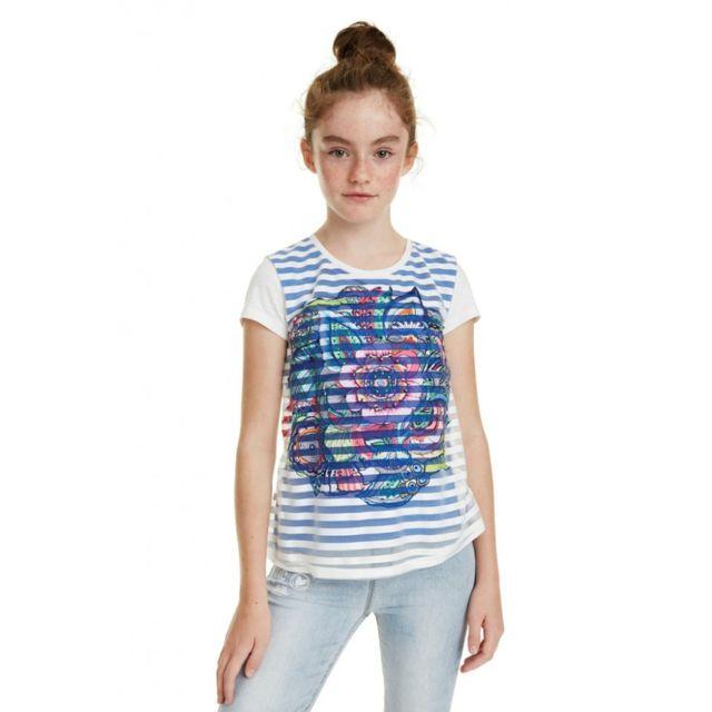Desigual - T Shirt fille Nuevayork blanc
