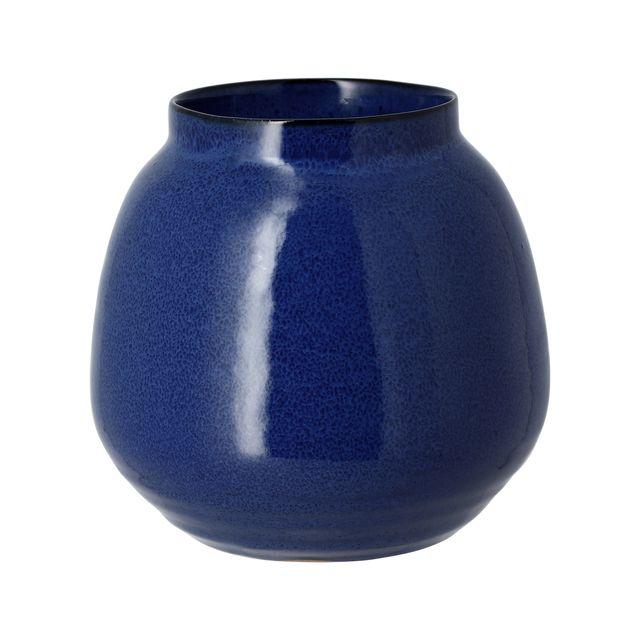 Bruno Evrard - Vase bleu en grès 14cm - Grès - Bleu foncé 0cm x 0cm x 0cm