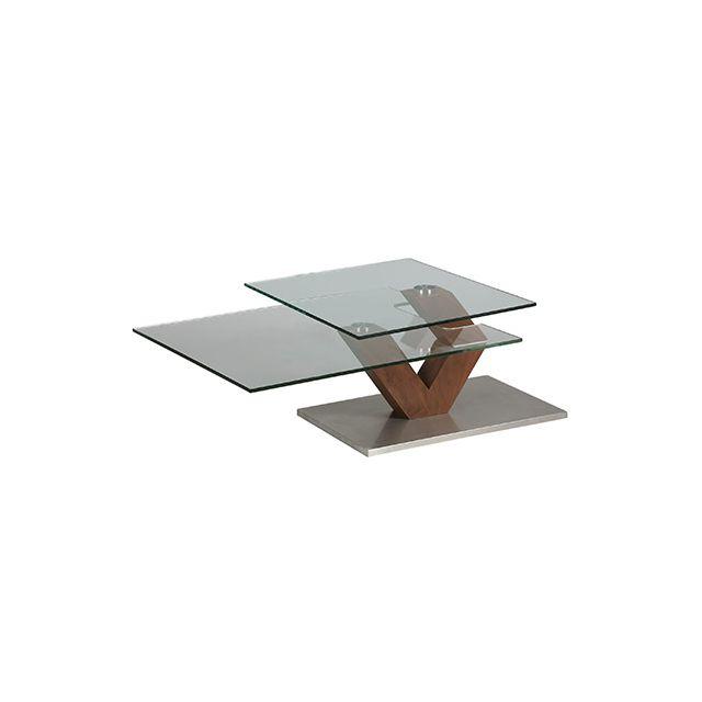 Table basse rectangulaire socle en acier et double plateau en verre trempé