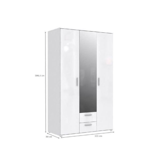 Finlandek Armoire de chambre SelkeÄ style contemporain blanc laqué brillant - L 121 cm