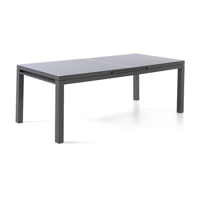 Gecko Jardin Table extensible en alumminum et verre 160/210 x 90 cm Asco