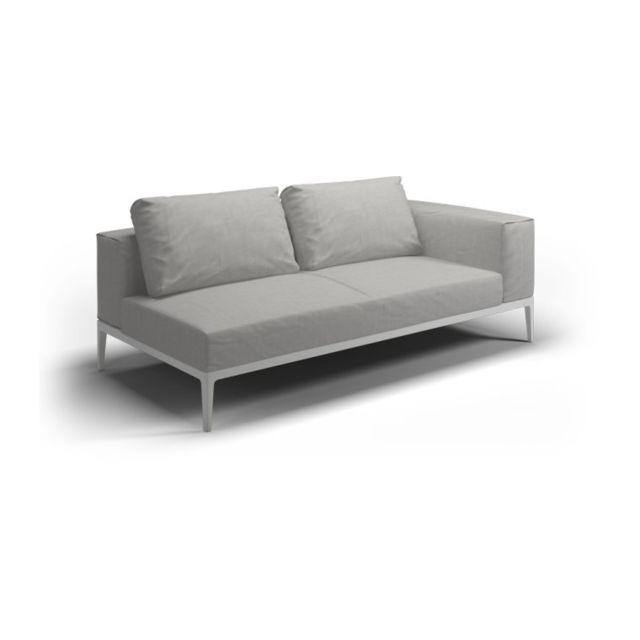 Gloster Sofa Grid - acier époxy blanc - gris clair