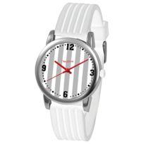 Newave - Montre analogique rayée blanc et gris Nwh221B