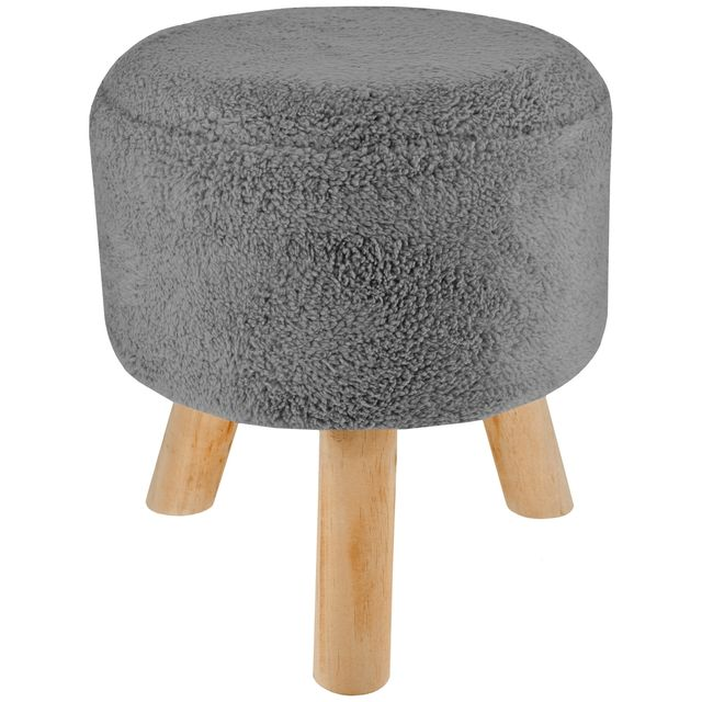 promobo tabouret pouf repose pieds polaire scandinave sherpa everest gris hauteur non r glable. Black Bedroom Furniture Sets. Home Design Ideas