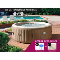 Intex - Spa gonflable PureSpa rond Bulles 4 places + Kit brome