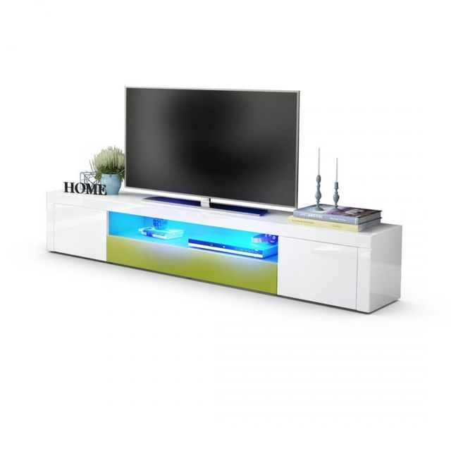 Mpc Meuble tv moderne laqué blanc et vert clair 200 cm avec led