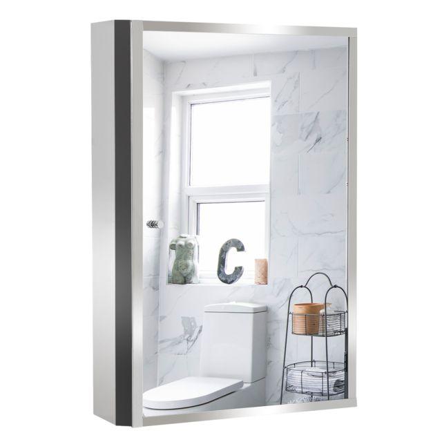 HOMCOM - Armoire miroir murale de salle de bain acier inoxydable 3 ...
