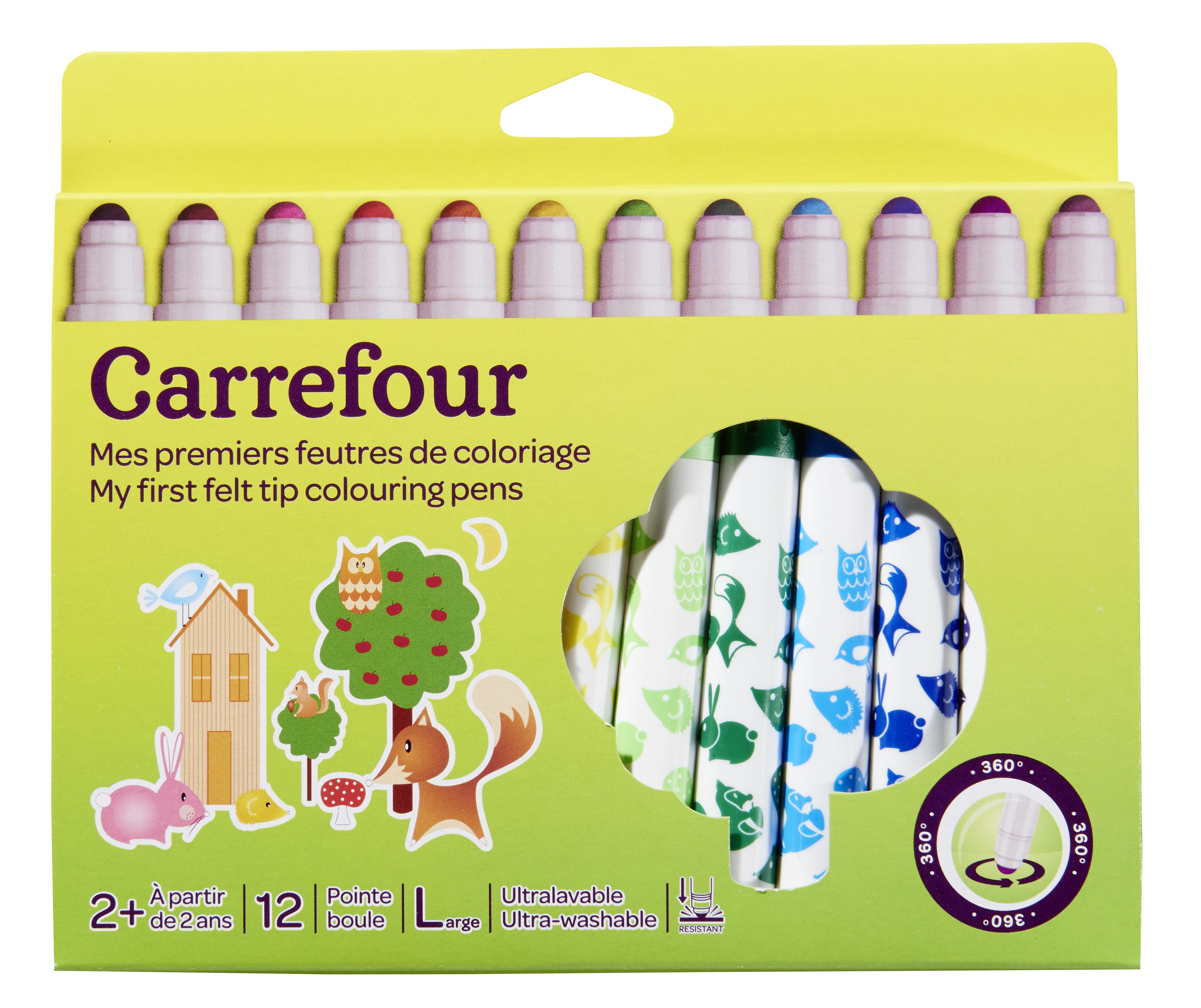 Carrefour Lot De 12 Feutres De Coloriage Bebe Pointe Large Pas