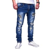 Justing - Jeans homme skinny déchiré Jeans 1203 bleu