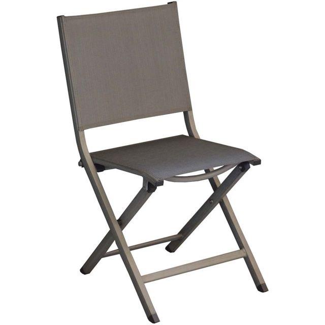 PROLOISIRS Chaises pliantes en aluminium brossé Thema Lot de 6