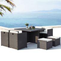 Sunset 8 : salon de jardin encastrable 8 places en résine tressée et  aluminium gris/blanc