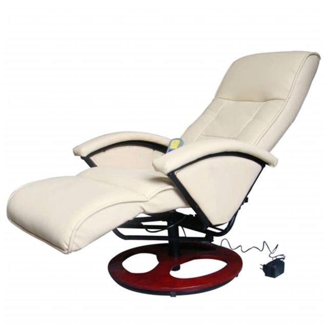 Admirable Fauteuils collection Moscou Fauteuil électrique de massage Cuir synthétique Blanc crème