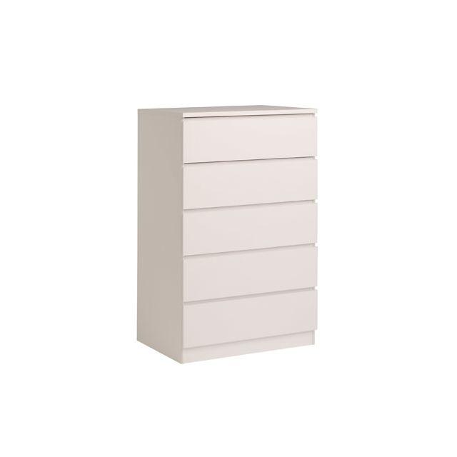 Commode 5 tiroirs 77x50x122cm coloris blanc