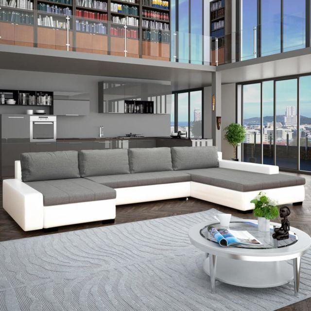GÉNÉRIQUE Distingué Meubles ligne Nassau Canapé-lit modulaire Similicuir Blanc et gris clair