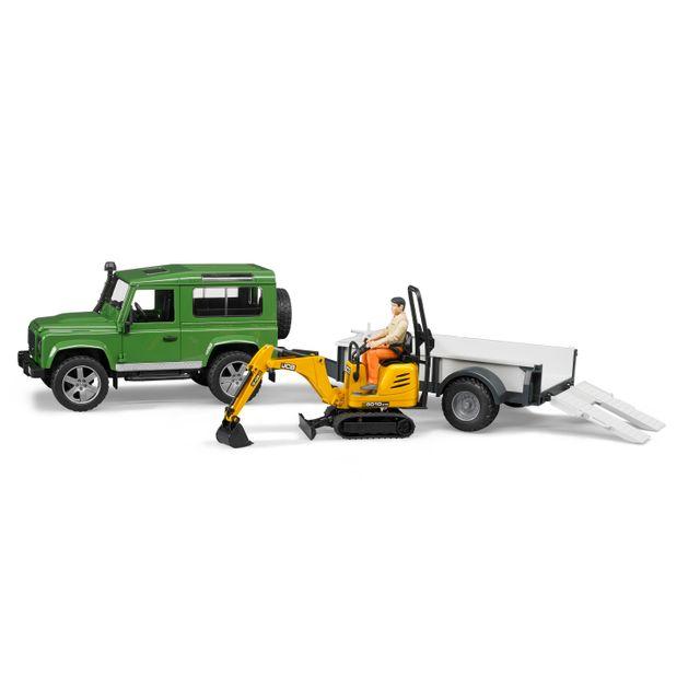 BRUDER Land rover Defender avec une remorque et mini pelle Jcb - 2593