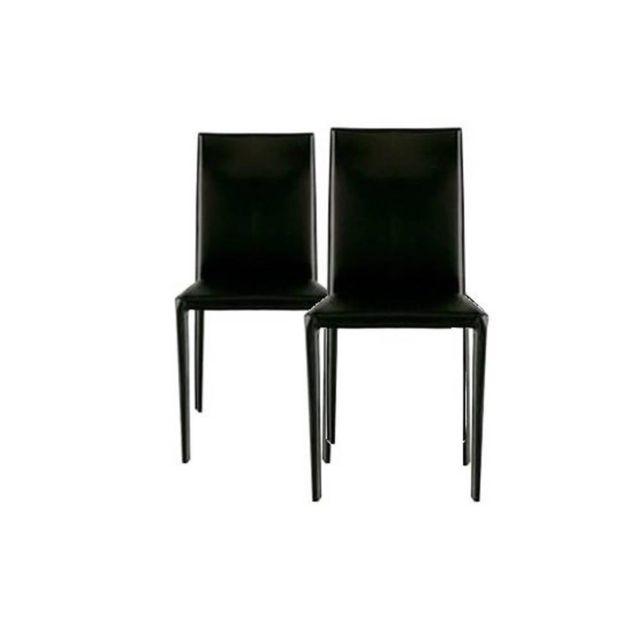 Inside 75 Lot de 2 chaises design Cathy en tissu enduit polyuréthane simili façon cuir