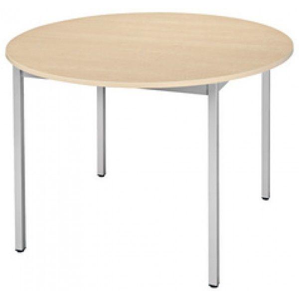 Sodematub Naudin Table ronde diamètre 110 cm - piètement aluminium - plateau érable