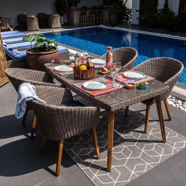 Salon De Jardin - Ensemble Table Chaise Fauteuil De Jardin Ensemble de  mobilier de jardin 4 places - 1 table et 4 fauteuils - Bois et résine  tréssée