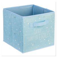Jja - Cube de rangement bleu décor étoiles
