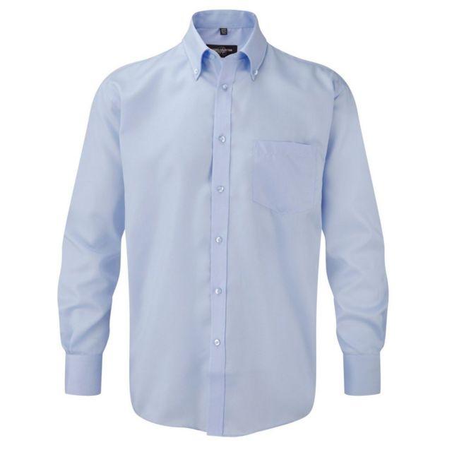 Fashion Cuir Chemise sans repassage Taille Homme - L, Couleur - bleu