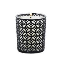 Ebougie - Bougie parfumée Cedre majestueux 190 gr verre transparent avec parure couture camelia noir
