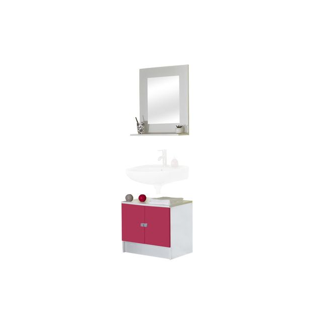 Ensemble meuble sous lavabo + miroir tablette coloris blanc et ...