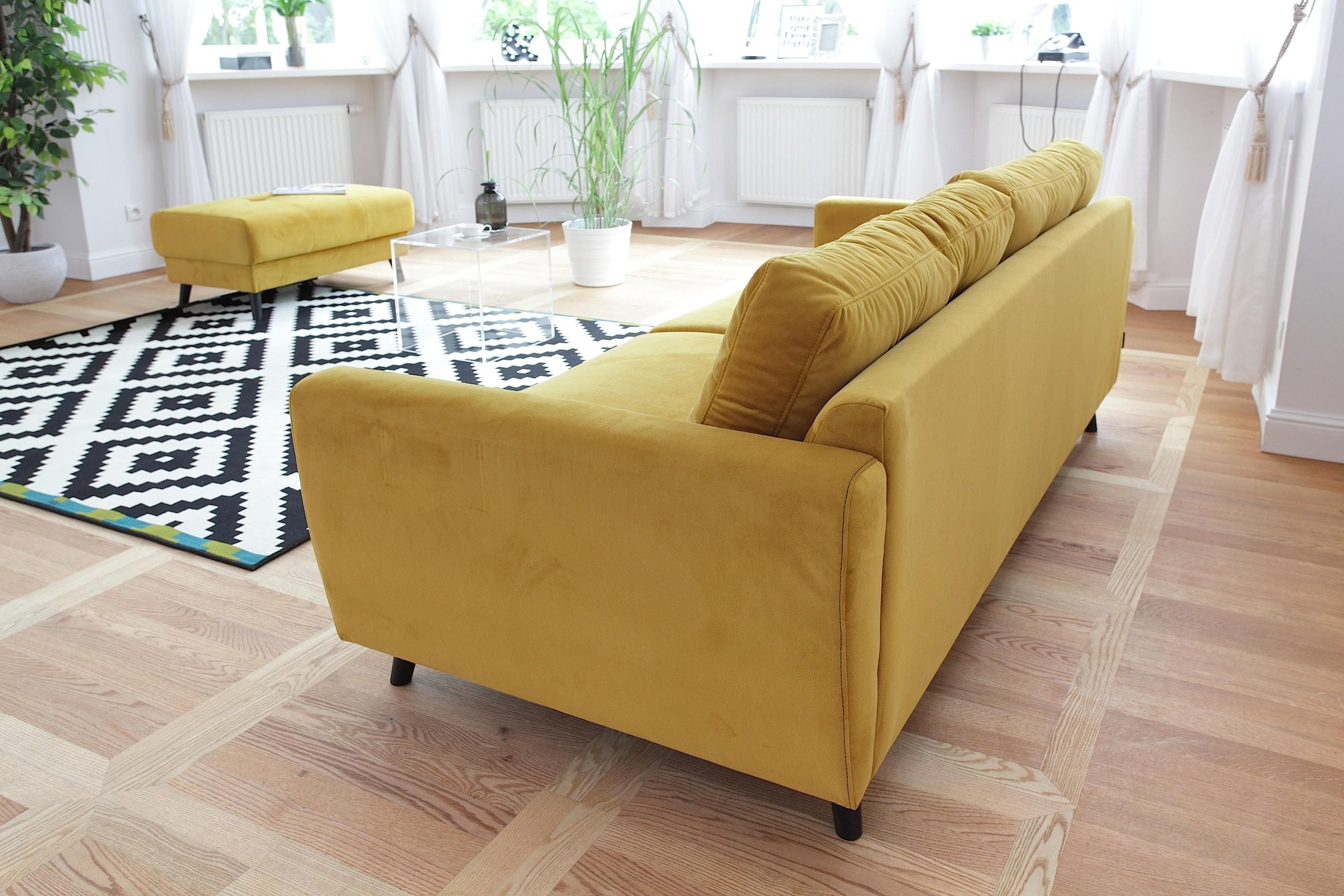 bobochic scandi edition limit e canap fixe pouf 3 places jaune moutarde 90cm x. Black Bedroom Furniture Sets. Home Design Ideas