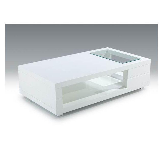 Sofamobili Table basse blanc laqué et plateau verre design Denisse