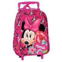 Princesses Disney - Sac à dos à roulettes maternelle Minnie 37 Cm trolley Rose - Cartable