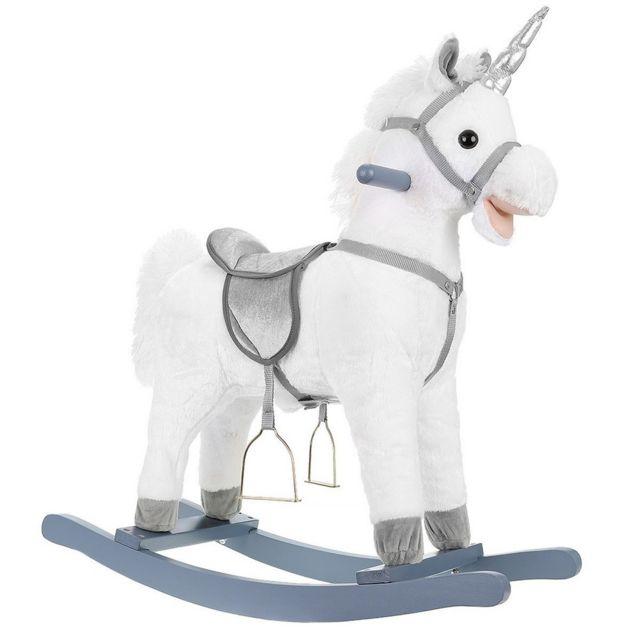 Sans Marque Cheval a bascule licorne Sonore jouet enfant bebe blanc