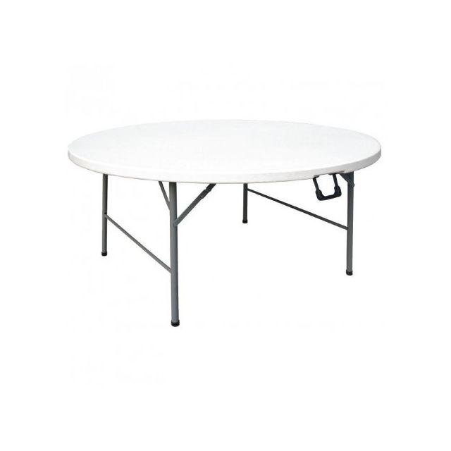 Materiel Chr Pro Table ronde pliable au centre blanche 1530 mm - Bolero - Blanc