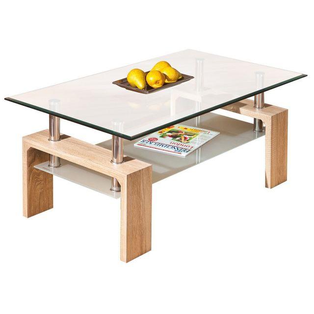 Comforium Table basse en bois avec plateau en verre