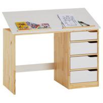 IDIMEX - Bureau enfant écolier junior EMMA pupitre inclinable avec 4 tiroirs en pin massif, naturel et lasuré blanc