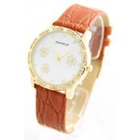 Comely - Montre Femme bracelet Cuir Marron 2502