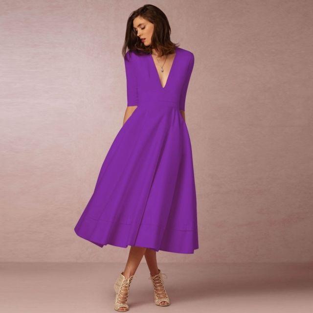 715b941fa Wewoo - Robe Femme Violet européenne et américaine haut de gamme ...