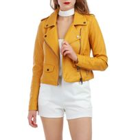 Lamodeuse - Veste jaune effet cuir