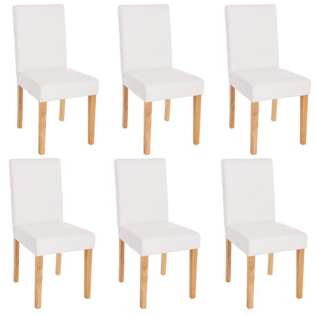 Mendler Lot de 6 chaises de séjour Littau, simili-cuir, blanc mat, pieds clairs