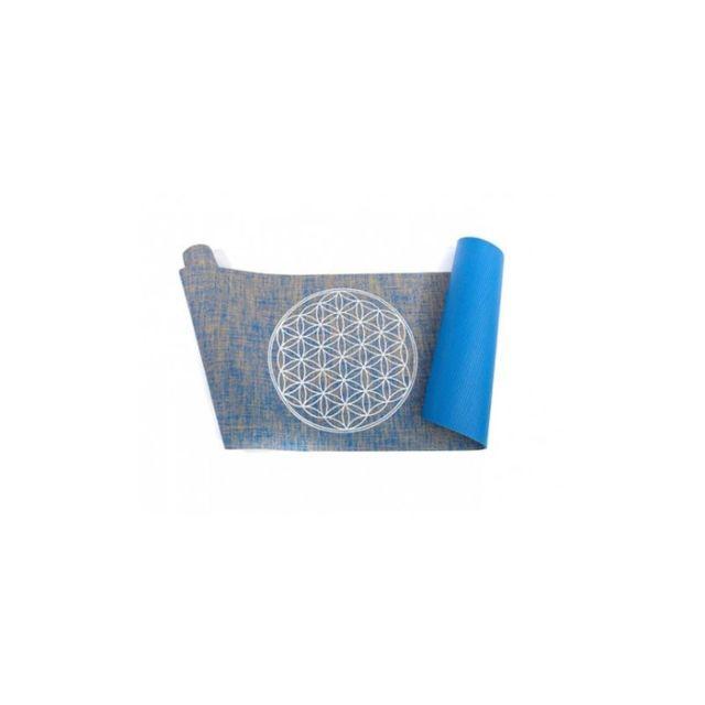 vivre mieux tapis de yoga fleur de vie en jute bleu sac transport - Tapis Fleur