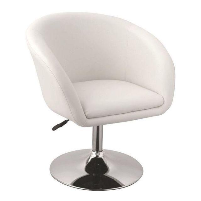 Autre Fauteuil siège chaise design lounge pivotant cuir synthétique blanc 1109020