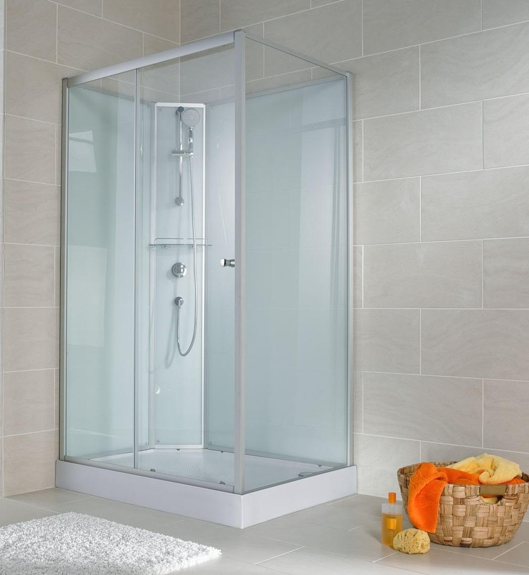 Cabine de douche complète, 120 x 90 x 190 cm, cabine de douche intégrale avec portes coulissantes, verre transparent, ouverture vers la gauche, Corsica