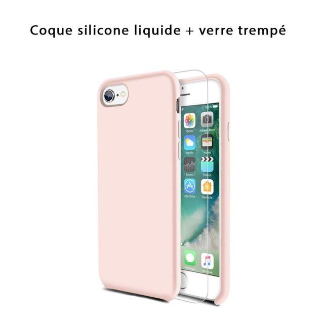 coque iphone 7 8 silicone liquide rose verre trempe