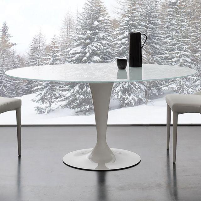 Nouvomeuble Table ovale blanche en verre et acier Olivia