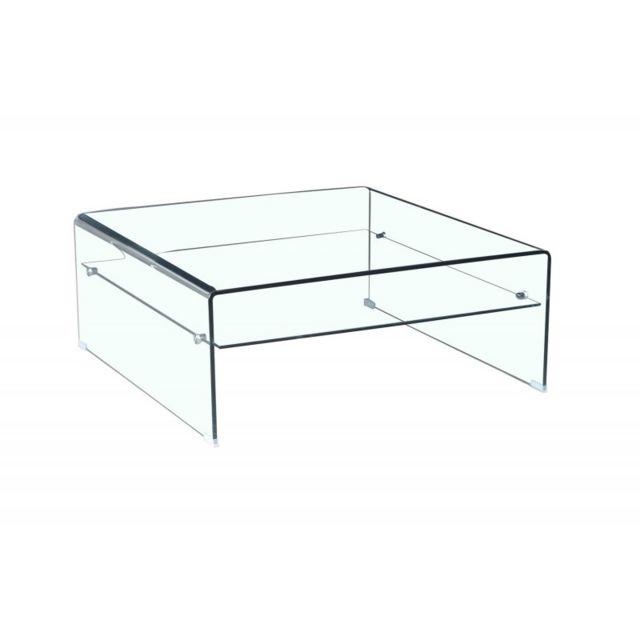 Table Basse Verre Trempé Design Carré Avec étagère Vitrée Ice