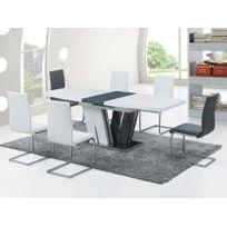 Marque Generique - Table à manger extensible Naomi - 6 à 8 couverts - Mdf laqué gris & blanc