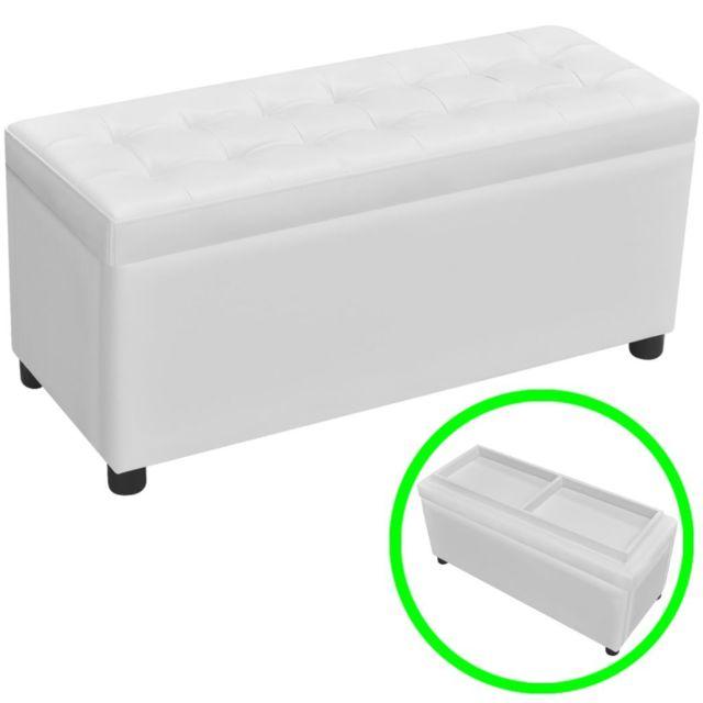 Vidaxl Pouf à rangement en touffetage en cuir synthétique Blanc, | Blanc