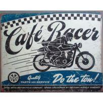 Universel - Plaque cafe racer bleu moto course affiche tole deco garage
