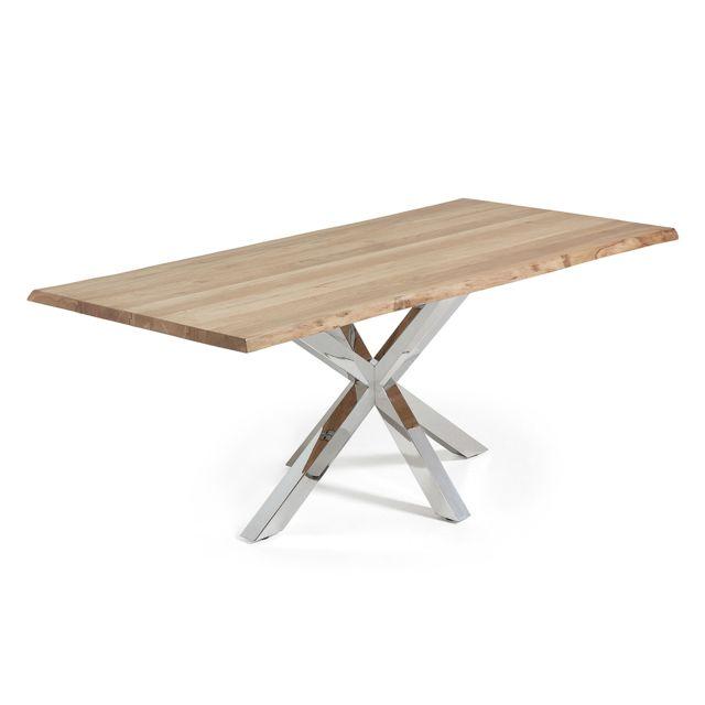 Kavehome Table New Argo 220x100, Inox Chêne naturel