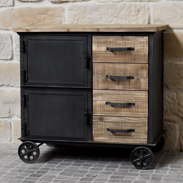 chemin de campagne meuble industriel campagne en bois et fer bahut enfilade commode roulettes. Black Bedroom Furniture Sets. Home Design Ideas
