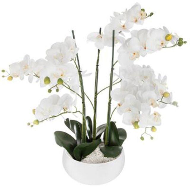 Paris Prix Fleur Artificielle Pot Ciment Orchidee 65cm Blanc